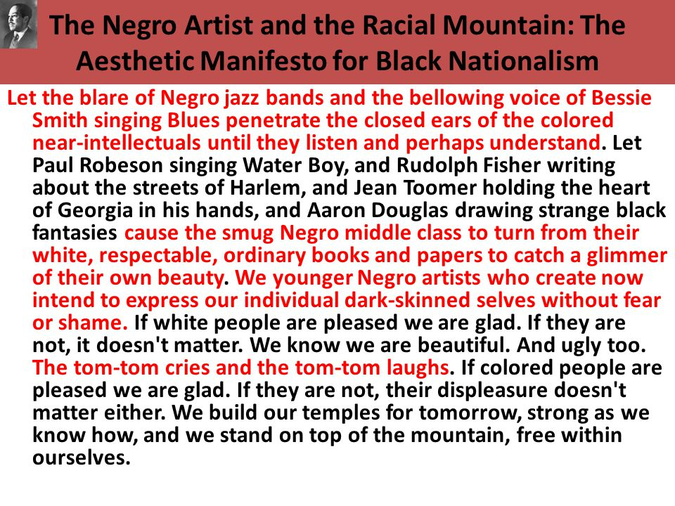 The Negro Artist and the Racial Mountain: The Aesthetic Manifesto for Black Nationalism