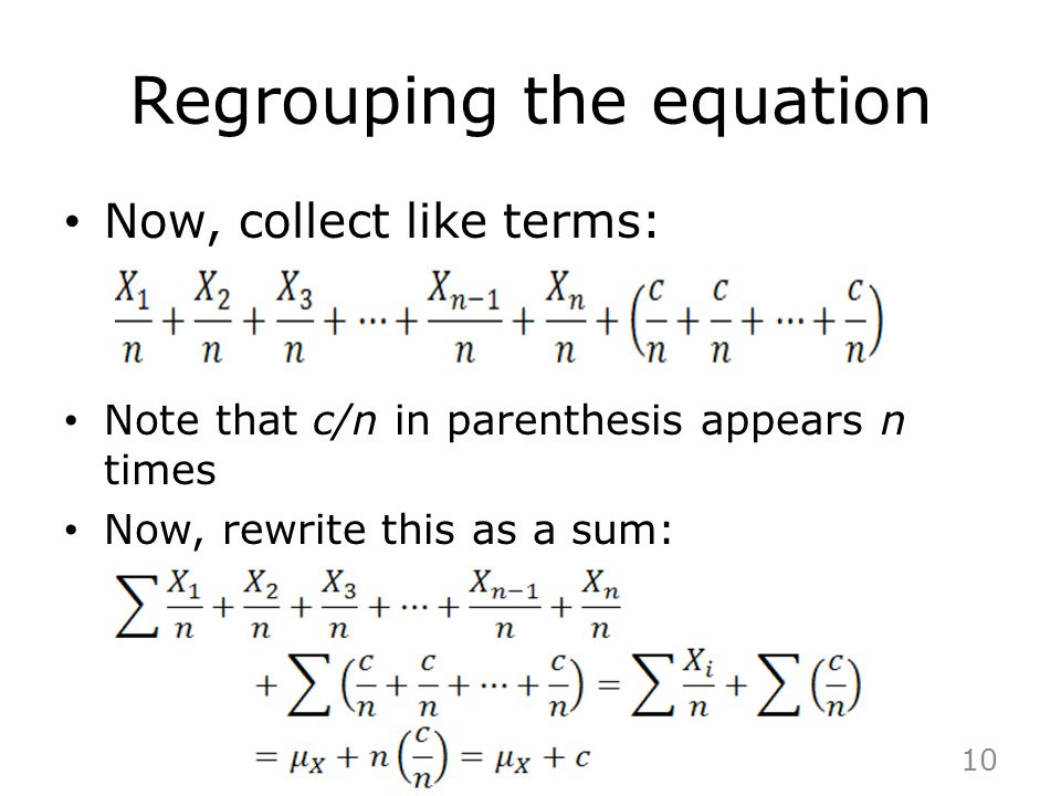 Regrouping the equation
