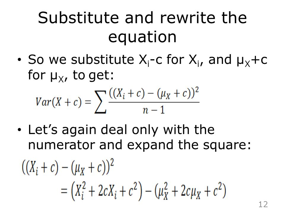 Substitute and rewrite the equation