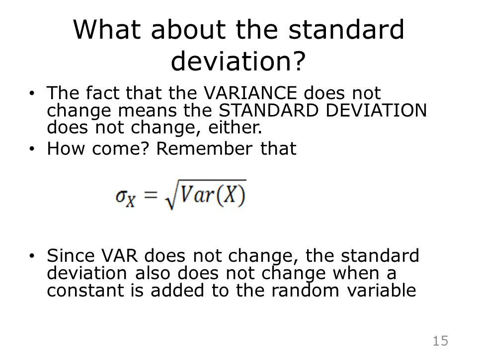 What about the standard deviation