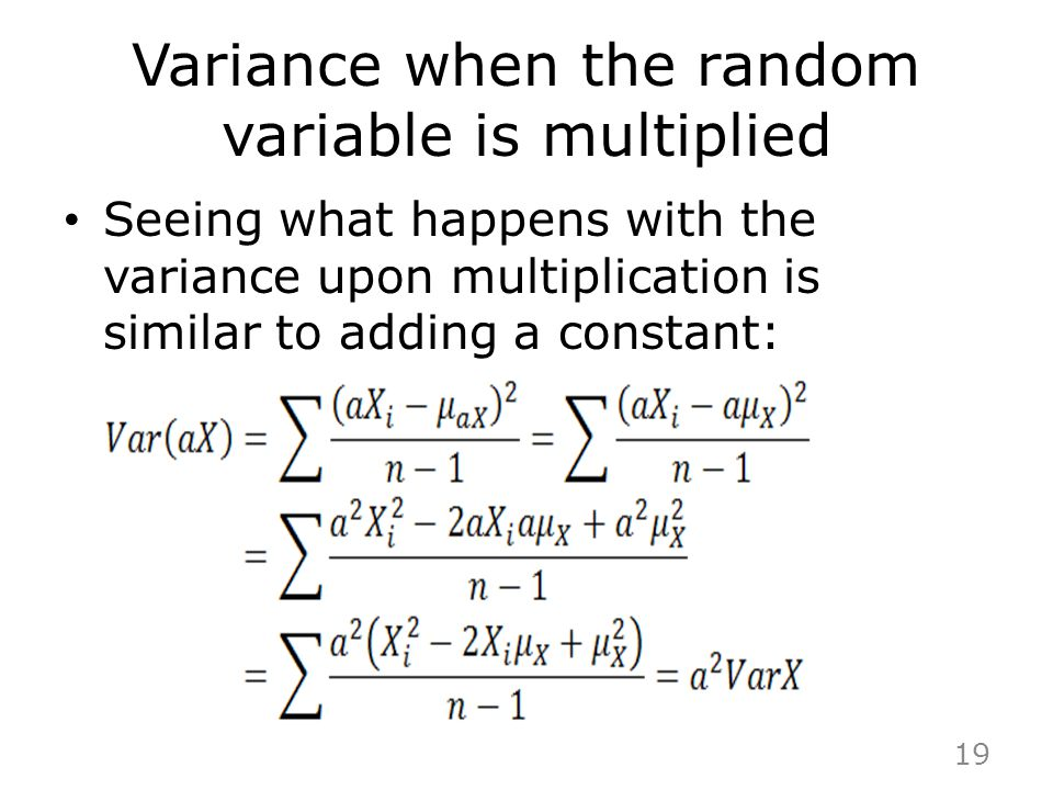 Variance when the random variable is multiplied