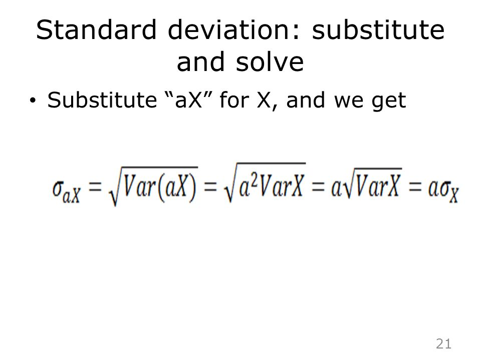 Standard deviation: substitute and solve