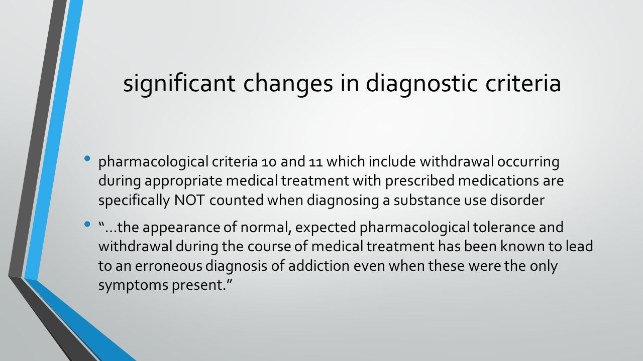 significant changes in diagnostic criteria