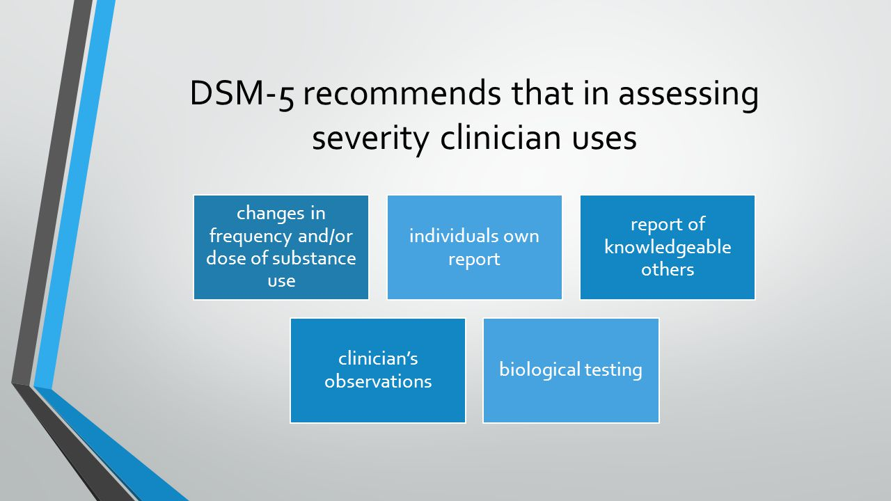 DSM-5 recommends that in assessing severity clinician uses