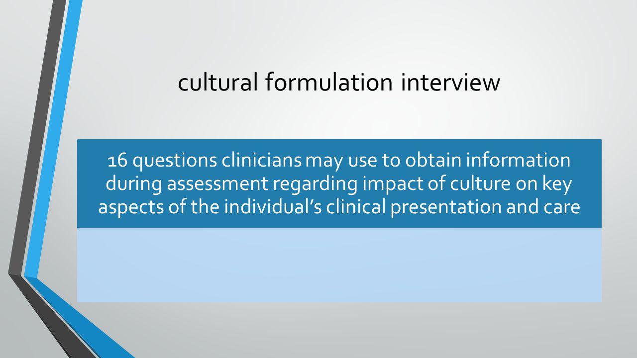 cultural formulation interview