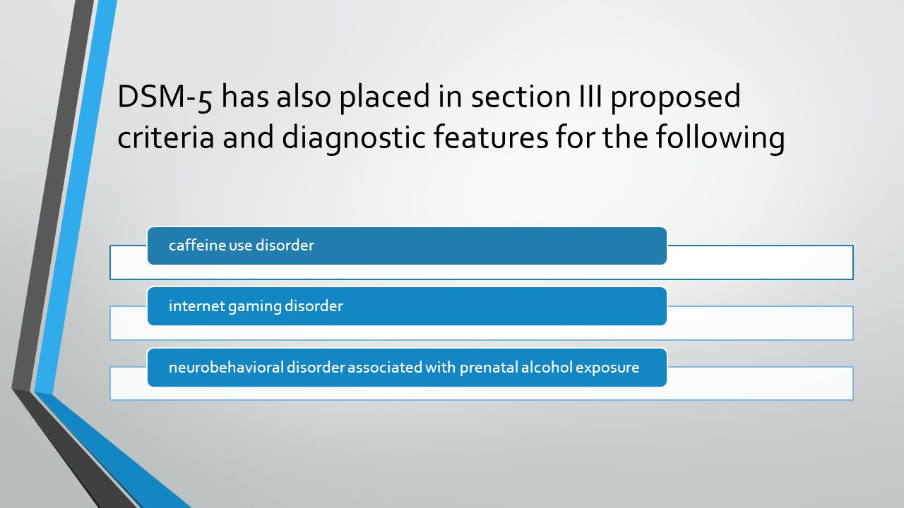 4/7/2017 DSM-5 has also placed in section III proposed criteria and diagnostic features for the following.