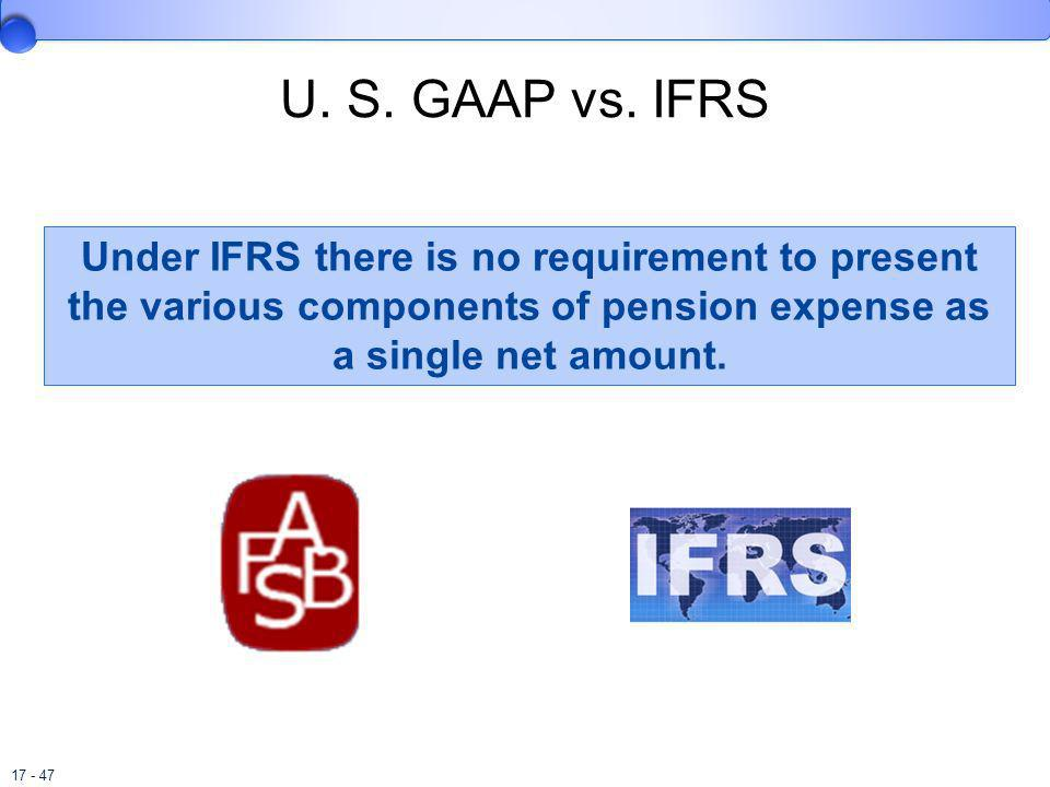 U. S. GAAP vs. IFRS Under IFRS there is no requirement to present the various components of pension expense as a single net amount.