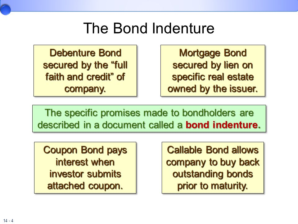 The Bond Indenture Debenture Bond secured by the full faith and credit of company.