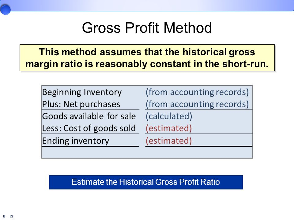 Estimate the Historical Gross Profit Ratio