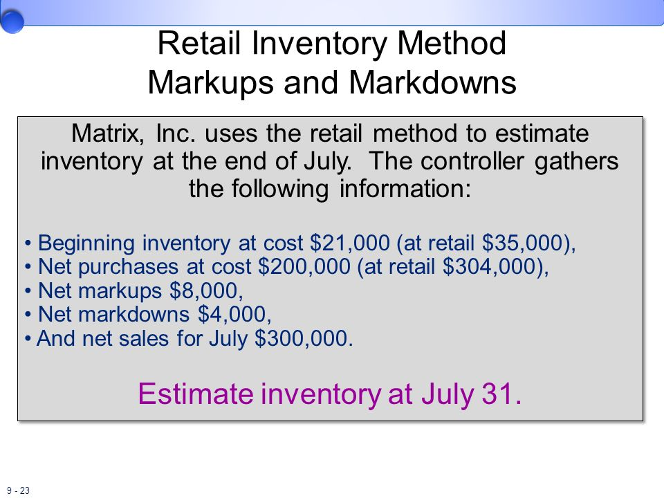 Retail Inventory Method Markups and Markdowns
