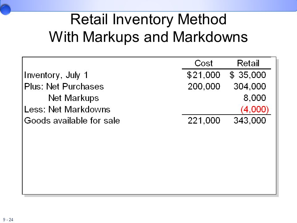 Retail Inventory Method With Markups and Markdowns