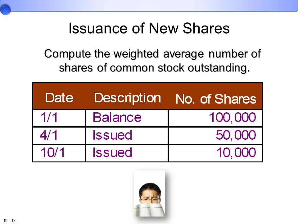 Issuance of New Shares Compute the weighted average number of shares of common stock outstanding.