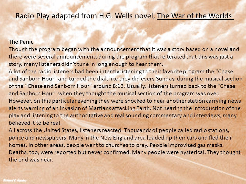 Radio Play adapted from H.G. Wells novel, The War of the Worlds