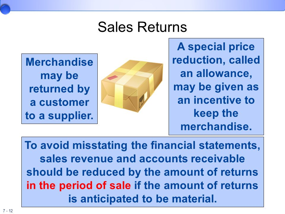 Merchandise may be returned by a customer to a supplier.