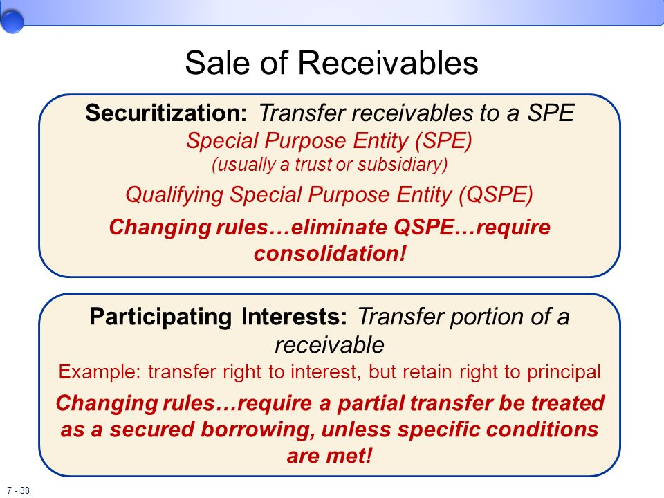 Changing rules…eliminate QSPE…require consolidation!