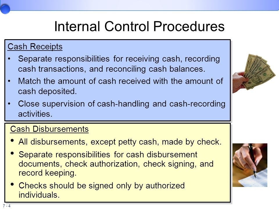 control of cash disbursements Control the collection and control of cash at the university are key functions of the office be involved in the disbursement function (authorizing expenditures.