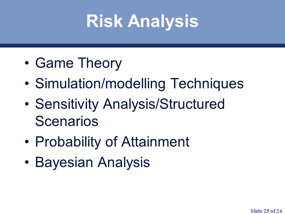 Risk Analysis Game Theory Simulation/modelling Techniques