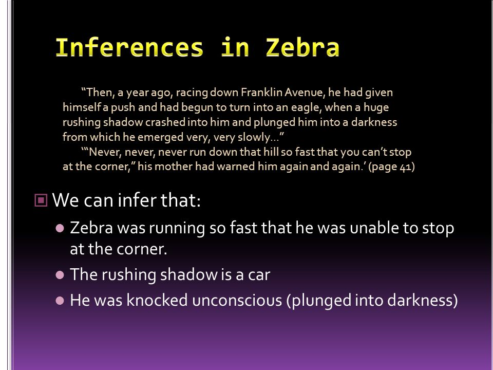 Inferences in Zebra We can infer that: