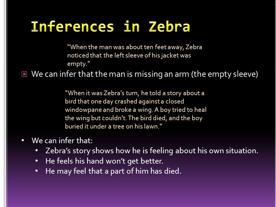 Inferences in Zebra When the man was about ten feet away, Zebra noticed that the left sleeve of his jacket was empty.