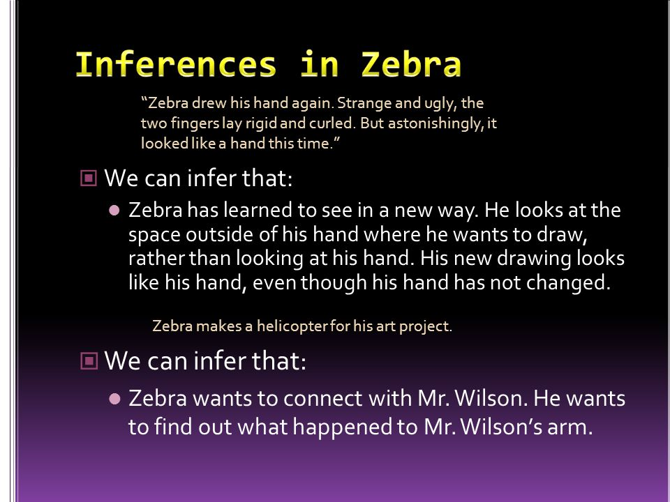 Inferences in Zebra We can infer that: We can infer that: