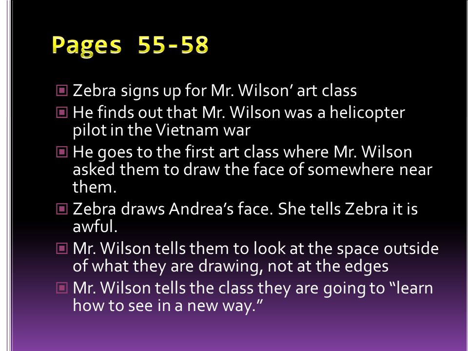 Pages 55-58 Zebra signs up for Mr. Wilson' art class