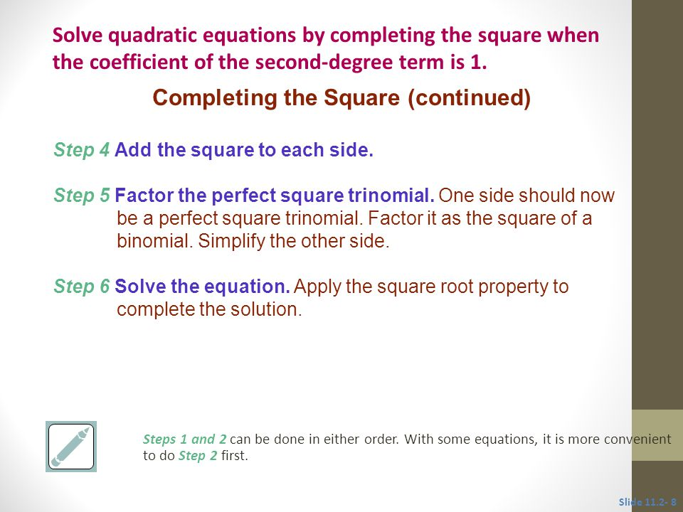 Completing the Square (continued)