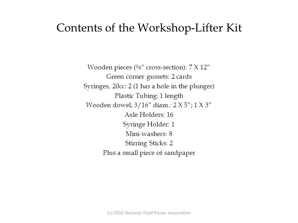 Contents of the Workshop-Lifter Kit