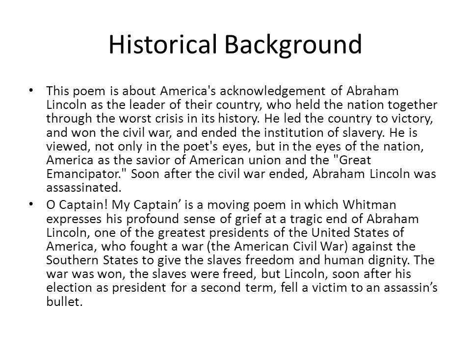 o captain my captain walt whitman ppt video online  6 historical background