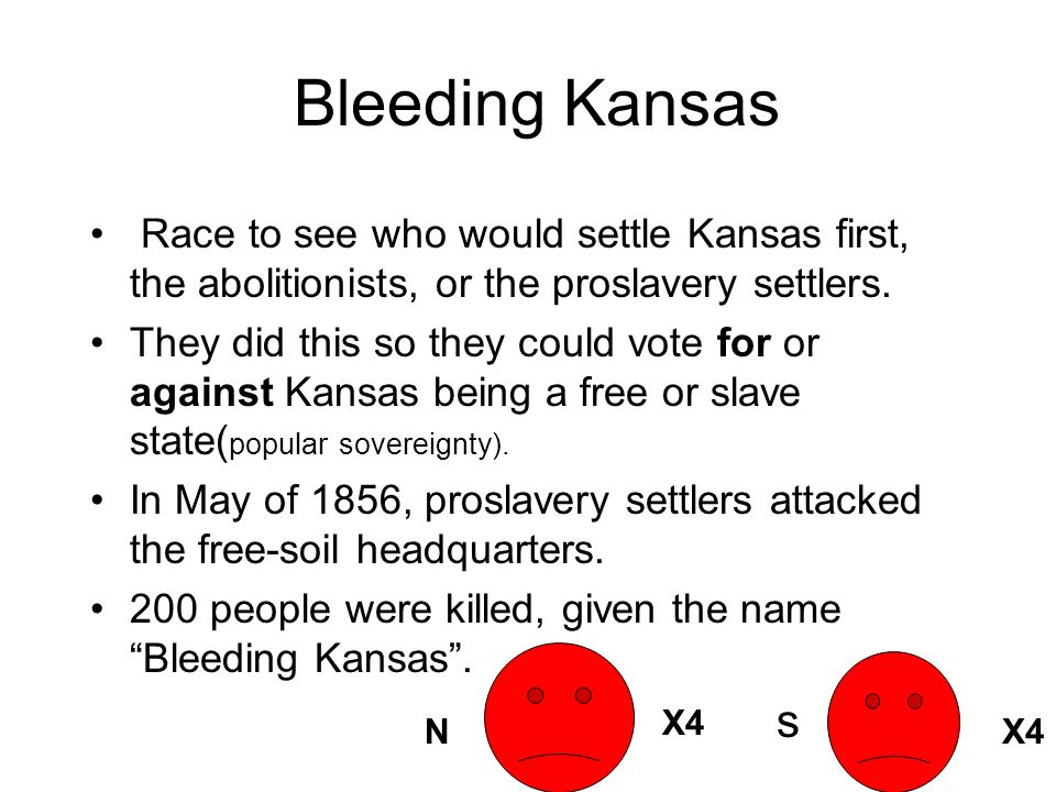 Bleeding Kansas Race to see who would settle Kansas first, the abolitionists, or the proslavery settlers.