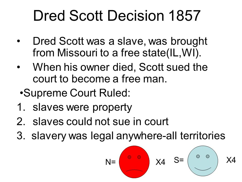 Dred Scott Decision 1857 Dred Scott was a slave, was brought from Missouri to a free state(IL,WI).