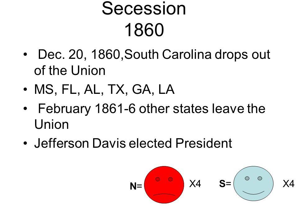 Secession 1860 Dec. 20, 1860,South Carolina drops out of the Union