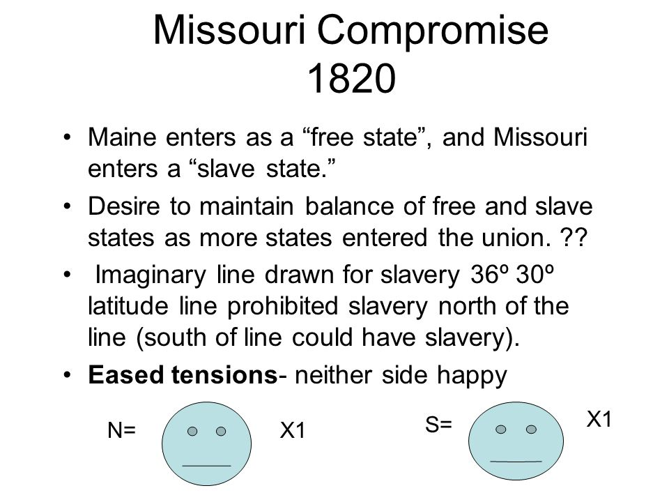 Missouri Compromise 1820 Maine enters as a free state , and Missouri enters a slave state.
