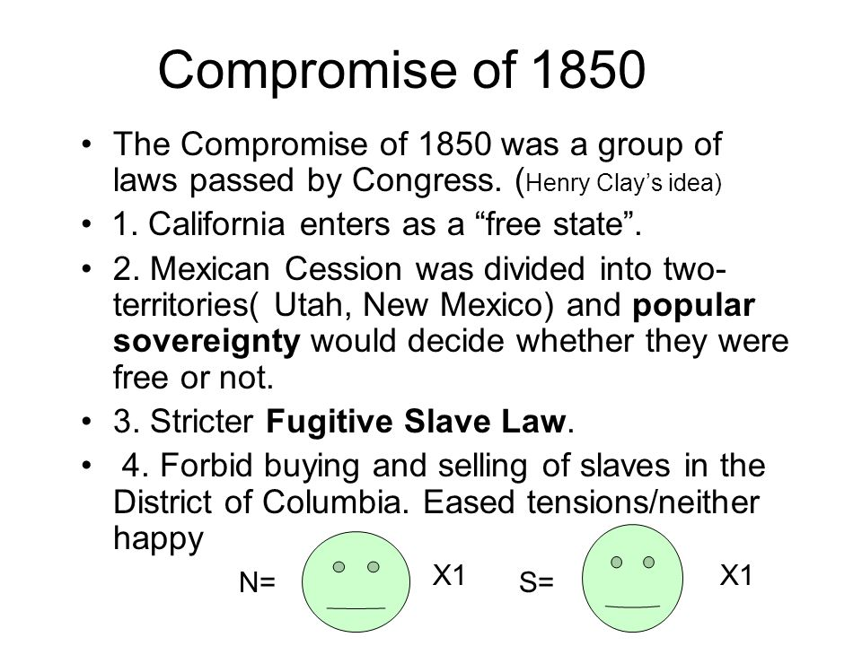 Compromise of 1850The Compromise of 1850 was a group of laws passed by Congress. (Henry Clay's idea)