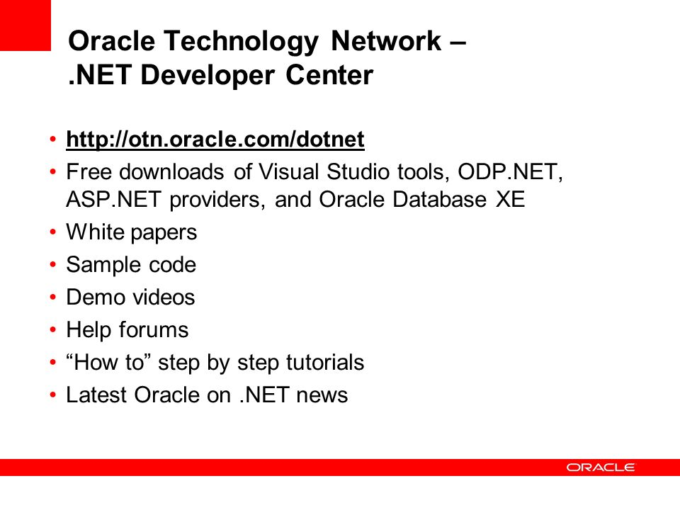 Oracle Technology Network – .NET Developer Center