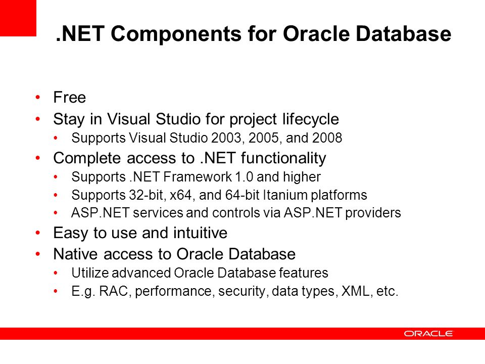 .NET Components for Oracle Database