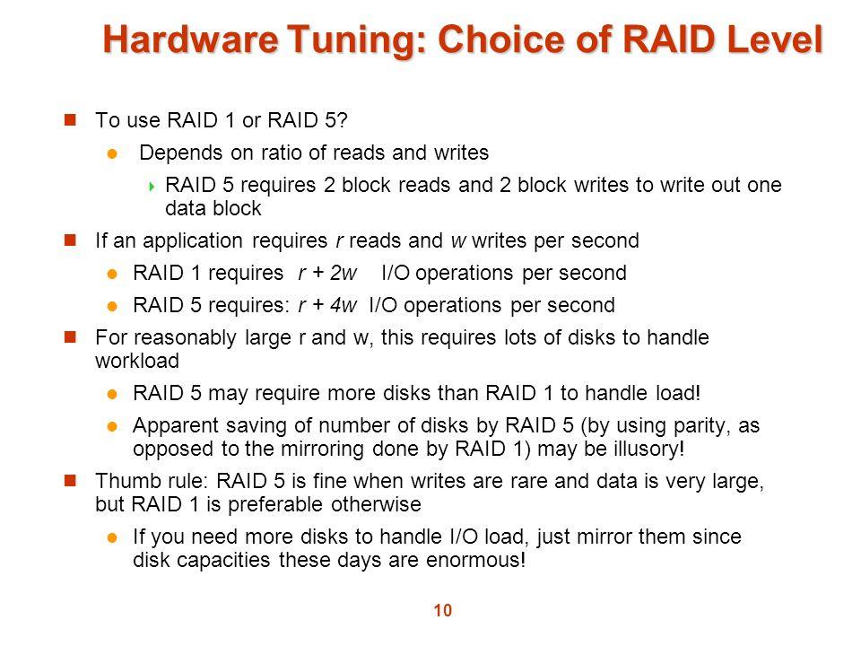 Hardware Tuning: Choice of RAID Level