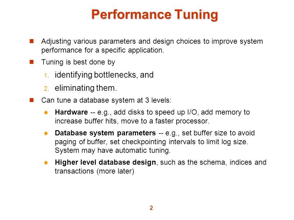 Performance Tuning identifying bottlenecks, and eliminating them.