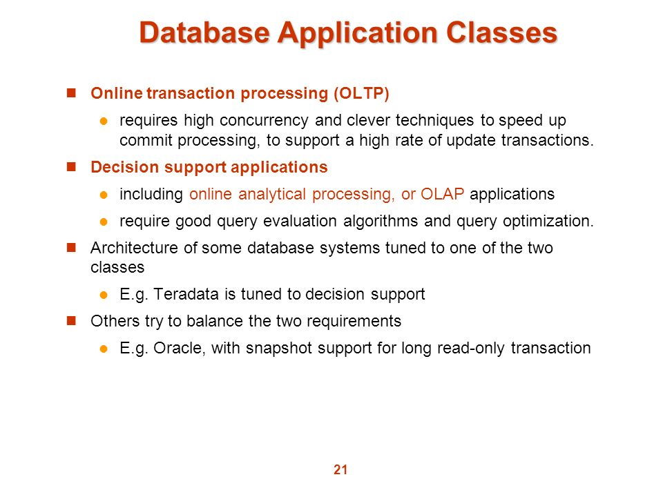 Database Application Classes