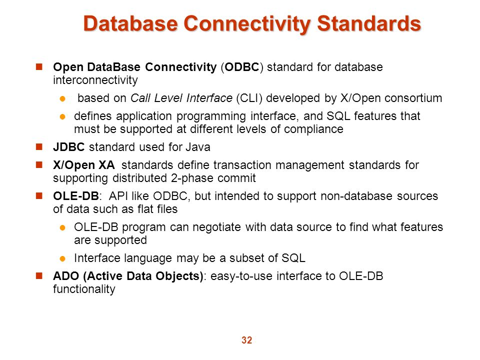 Database Connectivity Standards