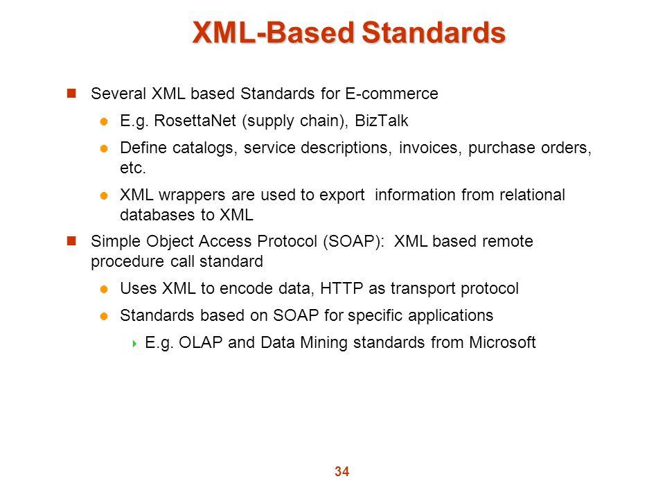 XML-Based Standards Several XML based Standards for E-commerce