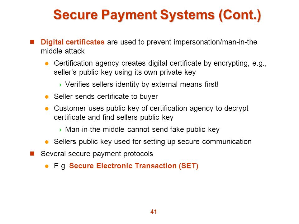Secure Payment Systems (Cont.)