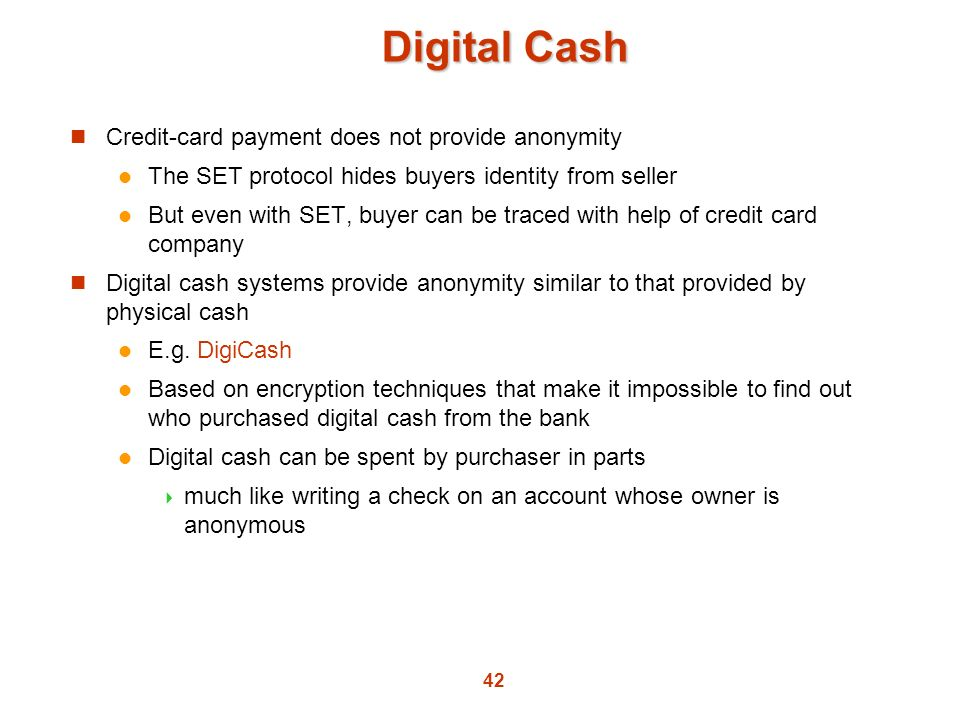 Digital Cash Credit-card payment does not provide anonymity