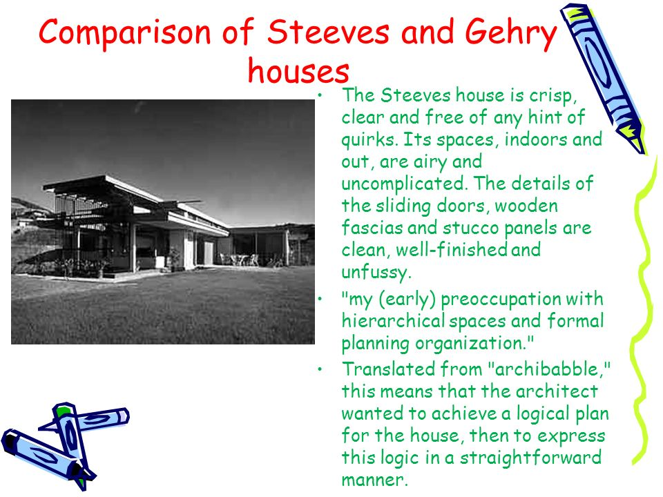 Comparison of Steeves and Gehry houses