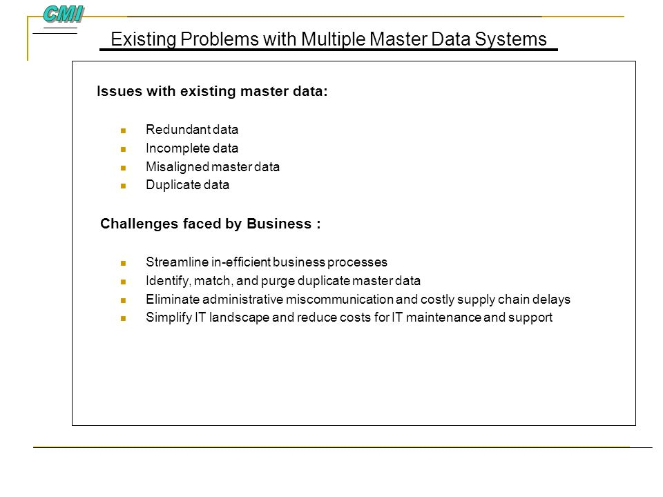 Existing Problems with Multiple Master Data Systems