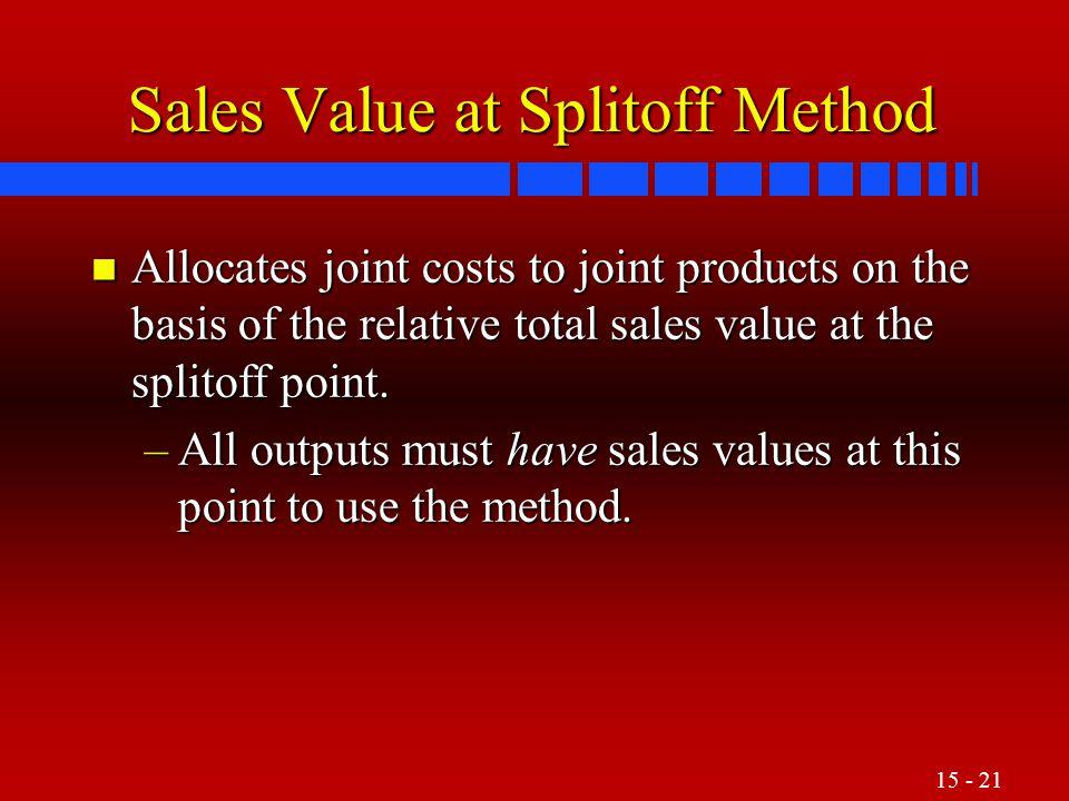 Sales Value at Splitoff Method