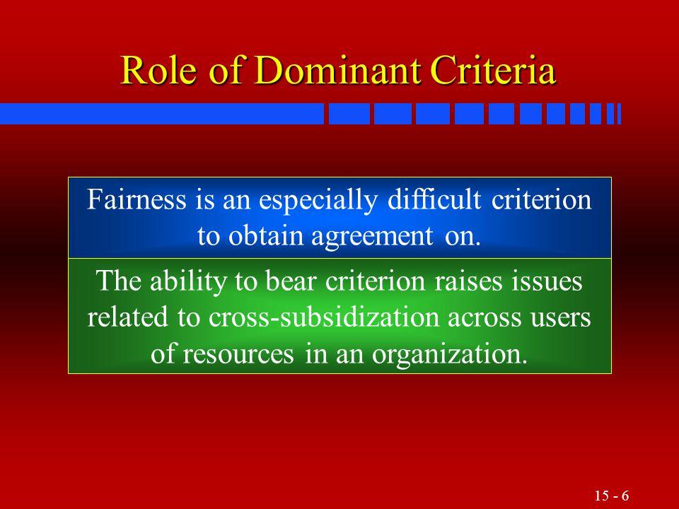 Role of Dominant Criteria