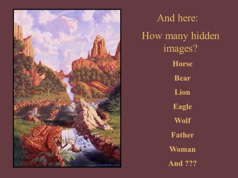 And here: How many hidden images Horse Bear Lion Eagle Wolf Father