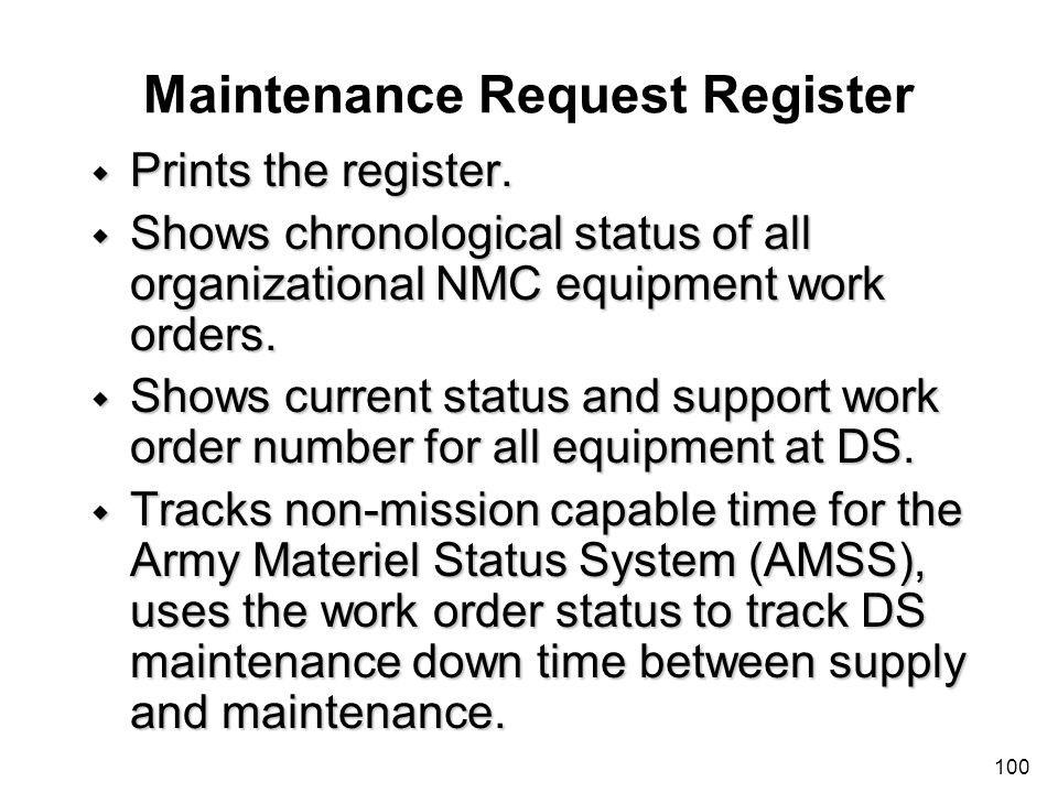Maintenance Request Register