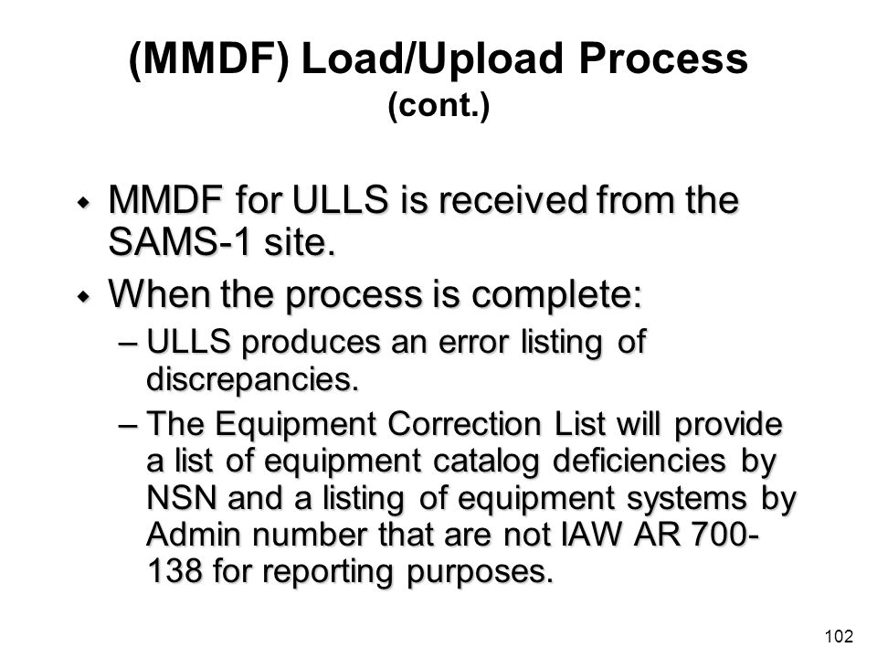 (MMDF) Load/Upload Process (cont.)