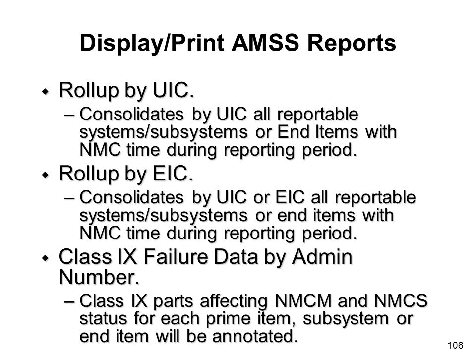 Display/Print AMSS Reports